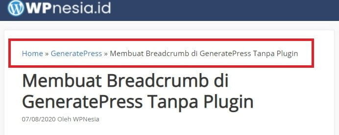 Membuat Breadcrumb di GeneratePress