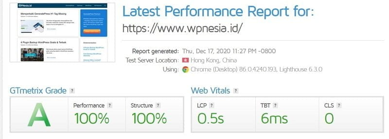 Cek Kecepatan WordPress